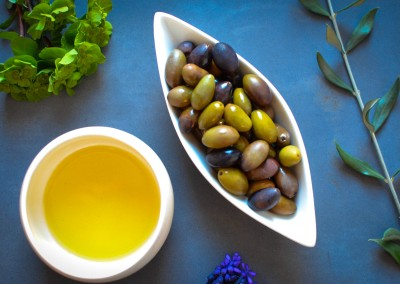 Mediterranean extra virgin olive oil and olives