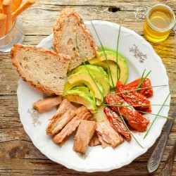 Tuna, sun dried tomatoes, avocado salad
