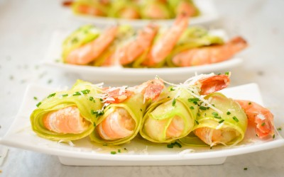 Shrimps and zucchini appetizers