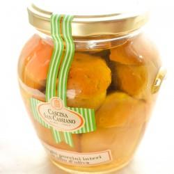 Whole porcini mushrooms in olive oil
