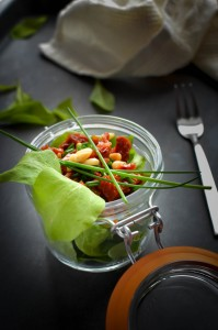 Baby spinach with dun dried tomatoes and pine nuts